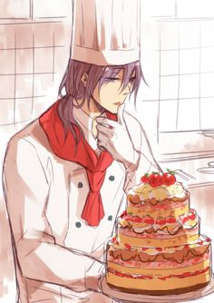 "LoL I have a feeling Murasakibara's pastry chef business wont quite work out... Due to all the cakes ""magically"" disappearing. -w-"