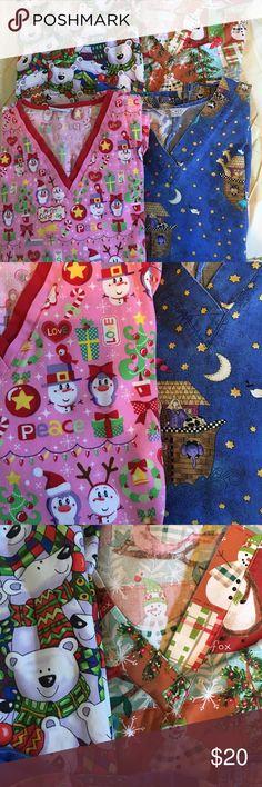 4 Christmas scrub tops. Mix & match. $7ea, all $20 Christmas scrub tops. EUC Tops Tunics