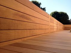 Freshly installed Iroko deck & wall cladding