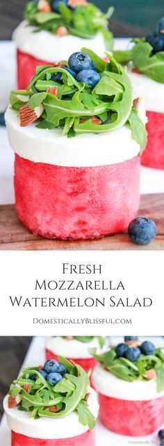 Fresh Mozzarella Watermelon Salad is a delicious way to enjoy a few of your favorite flavors of summer!