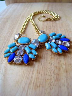 Turquoise Blue & Gold Statement Necklace by HomespunGossamer