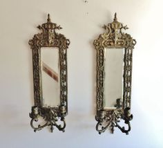 Pair of Antique 19c Victorian Bronze Mirrored Wall Lamps Sconces w/ Dolphins