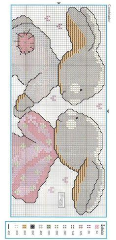 Coniglietti animali baby punto croce Cross Stitch For Kids, Cross Stitch Borders, Cross Stitch Animals, Cross Stitch Charts, Cross Stitch Designs, Cross Stitching, Cross Stitch Embroidery, Crochet Rabbit, Crochet Bear