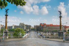 Svatopluk Cech Bridge (arch bridge over river Vltava) in Prague, Czech republic royalty-free stock photo