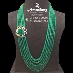 Emerald necklace with diamond side pendant photo Pearl Necklace Designs, Beaded Jewelry Designs, Bead Jewellery, Beaded Necklace, Small Necklace, Agate Jewelry, Emerald Jewelry, Emerald Necklace, Silver Earrings