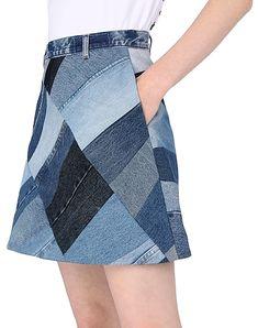 Ksenia Schnaider Denim Skirt - Women Ksenia Schnaider Denim Skirts online on YOOX United States - Diy Jeans, Denim Fashion, Fashion Outfits, Fashion Skirts, Fashion Hacks, Fashion Ideas, Fashion Tips, Jean Diy, Mode Jeans