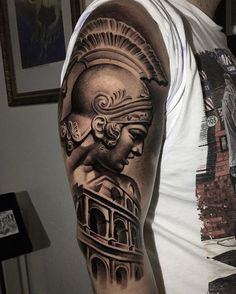 101 Amazing Gladiator Tattoos You Have Never Seen Before! Warrior Tattoo Sleeve, Shoulder Armor Tattoo, Helmet Tattoo, Warrior Tattoos, Aztec Tattoo Designs, Tattoo Sleeve Designs, Sleeve Tattoos, 3d Tattoos, Tattoo Ink