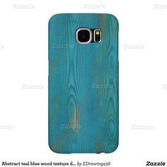 Abstract teal blue wood texture design samsung galaxy s6 cases
