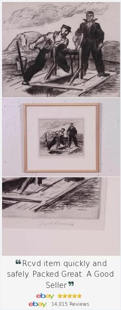 Original signed Jacob Kainen 1930s #WPA depression era limited edition lithograph print, framed. Classic image of laborers working at an oil rig.