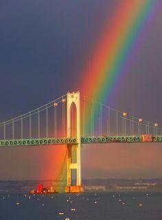 Rainbow Over Bridge, Rhode Island, Nature Beautiful Sky, Beautiful World, Beautiful Places, Wonderful Places, Cool Pictures, Cool Photos, Beautiful Pictures, Random Pictures, Amazing Photos