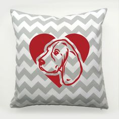Decorative Pillow Beagle Dog Heart by PSIAKREW on Etsy