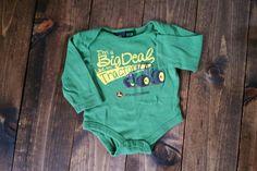 John Deere long sleeved onesie.  Size 12 months. $3. 12 Months, Onesies, Size 12, Garage, Long Sleeve, Sleeves, Kids, Clothes, Fashion