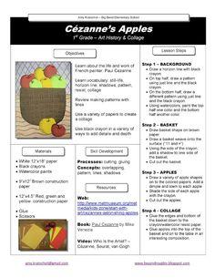 Grade Lesson Plan cezanne Still life collage Art History Memes, Art History Lessons, Life Lessons, Programme D'art, Cezanne Art, Classe D'art, First Grade Art, Apple Art, Art Worksheets
