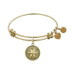 Antique  Stipple Finish Brass Hope Angelica Bangle, 7.25 Inches Adjustable - JewelryAffairs  - 1