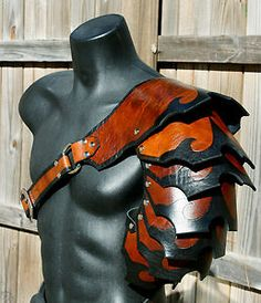 Single Leather Shingled Spaulder Armor articulated cosplay Gladiator SCA LARP in Collectibles, Militaria, Leather Rivets, Leather Armor, Cosplay Armor, Cosplay Diy, Arm Armor, Body Armor, Gladiator Armor, Armadura Medieval, Pauldron