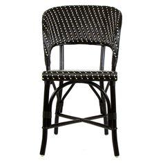 Black & Cream Mediterranean Bistro Wrap Back Chair (D)
