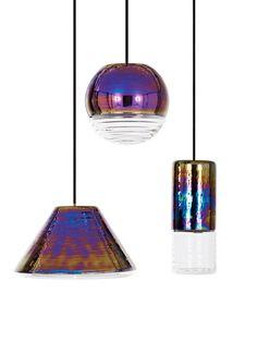 'Flask Oil Ball Pendant Light by Tom Dixon. Contemporary Pendant Lights, Pendant Lighting, Rainbow Kitchen, Rainbow Metal, Home Organization Hacks, Home Office Decor, Decoration, Decor Interior Design, Iridescent