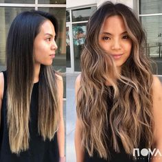 Before and after Dreamy Smokey by 💫 hair hairstyle hairgoals hairinspo novaartssalon novafamily caramelombrehair 594123375826963255 Dark Ombre Hair, Brown Hair Balayage, Brown Blonde Hair, Brown Hair With Highlights, Ombre Hair Color, Light Brown Hair, Brown Hair Colors, Dark Hair, Asian Balayage