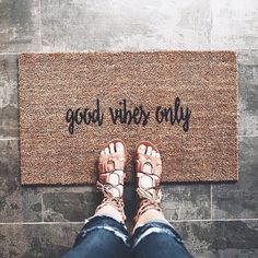 Good Vibes Only. Please read the bullet points below before you order. All doormats take up to 3 weeks to make. Please allow another 3-6 days for shipping once theyre made. Please contact us if you have any questions! General Information: *Size: 18x30 and 9/16 inches thick *Material: