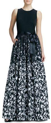 Aidan Mattox Sleeveless Printed Combo Gown on shopstyle.com