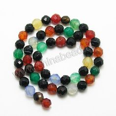 Gemstone Beads, Multi-colored Agate, Faceted round, Approx 8mm, Hole: Approx 1.5mm, 50 pcs per strand, Sold by Strands