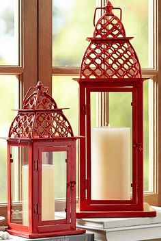 Beautiful Moroccan inspired lanterns in coral http://rstyle.me/n/fj5hynyg6