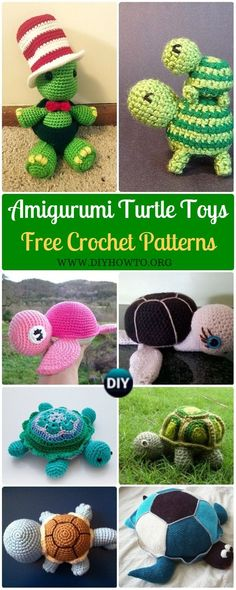 Collection of Crochet #Turtle Amigurumi Toy Softies Free Patterns: Crochet Turtle Pillow, Turtle Plushies, Keychains, Cuff Bracelets, Pincushions and more