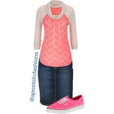 A fashion look from January 2015 featuring maurices t-shirts, McGregor skirts and Vans sneakers. Browse and shop related looks. Cute Modest Outfits, Cute Skirt Outfits, Modest Wear, Cute Skirts, Fall Outfits, Casual Outfits, Apostolic Fashion, Modest Fashion, Apostolic Style