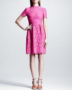 Heavy+Lace+Bambolina+Dress,+Fuchsia+by+Valentino+at+Neiman+Marcus.