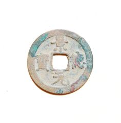 261a.   Obverse side of a Jing De Yuan Bao (景德元寶) 1 cash coin cast from AD 1004–1007 during the 'Jingde' reign title of Emperor Zhenzong (真宗 - 997–1022 AD), of the Northern Song (北宋) Dynasty (960- 1127 AD). The obverse side features 'orthodox' script while the reverse side is plain. 25mm in size; 4 grams in weight. S-471.