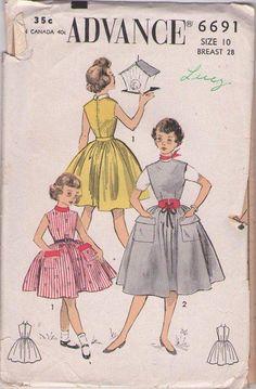 MOMSPatterns Vintage Sewing Patterns - Advance 6691 Vintage 50's Sewing Pattern GORGEOUS Girls Retro Full Flared Skirt, Flap Pockets Jumper, Party Dress Size 10