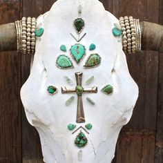 >> Cow Skull >> Vintage Navajo Sterling silver cross >> Teardrop turquoise with silver beading detail >> Silver Beading around the horns