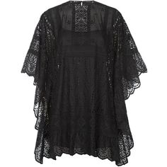 Valentino Broderie Anglaise Cape Dress (44.474.515 IDR) ❤ liked on Polyvore featuring dresses, boho dresses, valentino dress, bohemian dresses, batwing sleeve dress and boho style dresses