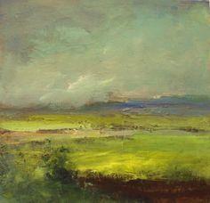 yellow farmlands, painting by artist Parastoo Ganjei