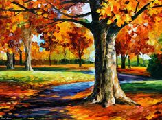 """Bristol Fall — PALETTE KNIFE Autumn Landscape Oil Painting of Fall On Canvas By Leonid Afremov - Size: 40"""" x 30"""" (100cm x 75cm)"""