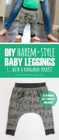 DIY Harem-Style Baby Leggings ...with a Kangaroo pocket! (template included) | Make It and Love It