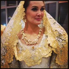 Gorgeous gown & veil! Filipiniana Wedding, Filipiniana Dress, Wedding Gowns, Barong Tagalog For Women, Philippines Dress, Filipino Fashion, October Wedding, Filipina, Elegant Dresses