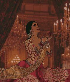 Modern Indian Art, Indian Folk Art, Indian Aesthetic, Aesthetic Art, Indiana, Indian Illustration, Girly Drawings, Indian Art Paintings, Digital Art Girl