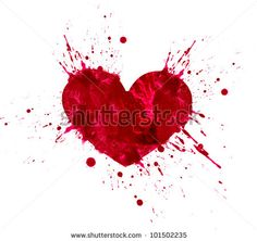 Illustration of heart in love. Hand drawn design from watercolor splash stains, isolated on white background by Irish_design, via ShutterStock