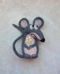 Сute rat Felt Brooch Felted Accessories Needle felted brooch  Wool felt brooch Gift ideas by voilokhouse on Etsy