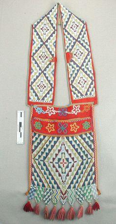 Loom-beaded bandolier bag, possibly Menominee or Potawatomi, Great Lakes region, late nineteenth century.