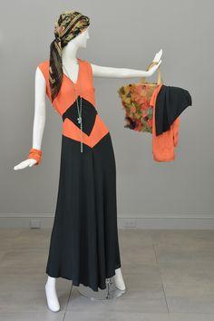 1930s Deco Orange Black Two Piece Beach Pajama Set from VintageVirtuosa