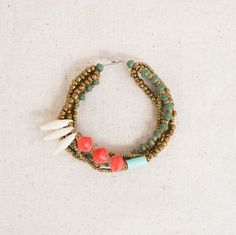 Green Coral and White Quincy Bracelet by 31 Bits from B. POY