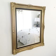 Gold Vintage Wall Mirror Large French Ornate Mirror, Hollywood Regency Wall Hanging/ Leaning Mirror