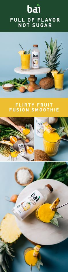 This fruity fusion is so smooth it'll be getting your taste buds phone number before you know it. Beautifully mixed with Bai Puna Coconut Pineapple and its 5-calorie flavor, this blend is downright flirty.