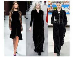 20 trends for Fall/Winter 2014-2015 Velvet night, form left to right: Nina Ricci, Tom Ford, Chanel