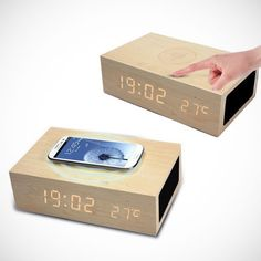 Wooden Qi Wireless Charger/Speaker/Clock - $55