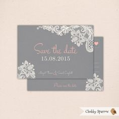 Grey Lace & Linen Wedding Save the Dtae, Invitation, Engagement by ChubbySparrow Etsy