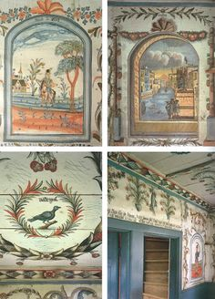 Antique Swedish painted walls with countryside motifs.