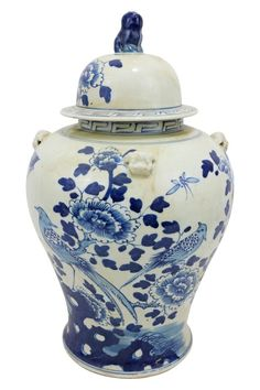 Vintage Style Blue and White Chinese Porcelain Temple Jar Bird Motif 19.5""